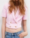 Women's Solid Double-breasted Short Sleeve Blazer