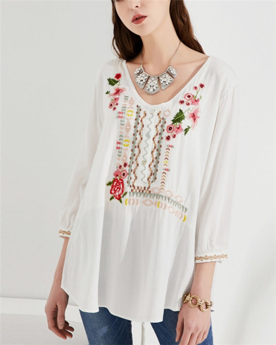 Women's Fashion Long Sleeve Embroidered Blouse