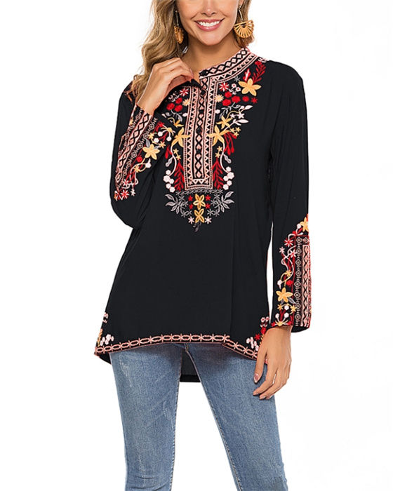 Women's Loose Long Sleeve Embroidery Blouse