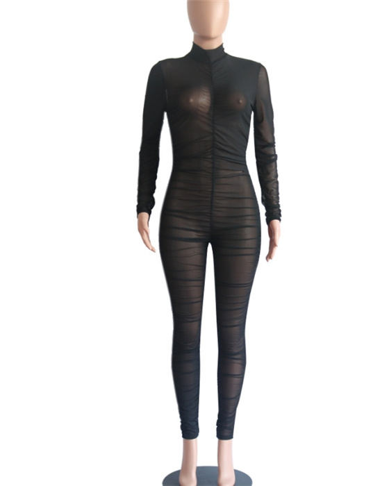 Women's Solid Long Sleeve See Through Mesh Jumpsuit