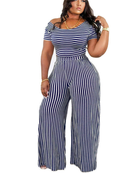 Women's Striped Top And Pant Plus Size Outfit Set