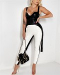 Women's Fashion Sleeveless Solid PU Leather Top