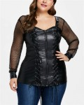 Women's Long Sleeve Plus Size PU Leather Top