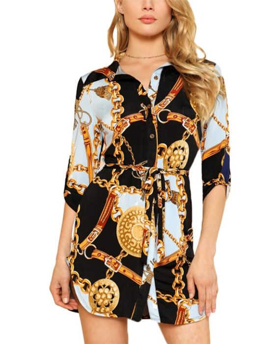Women's Single Breasted Chain Print Blouse
