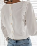 Women's Single Breasted Solid Ruffle Blouse