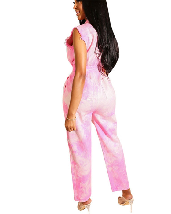 Women's Sleeveless Belted Ripped Jumpsuit Plus Size