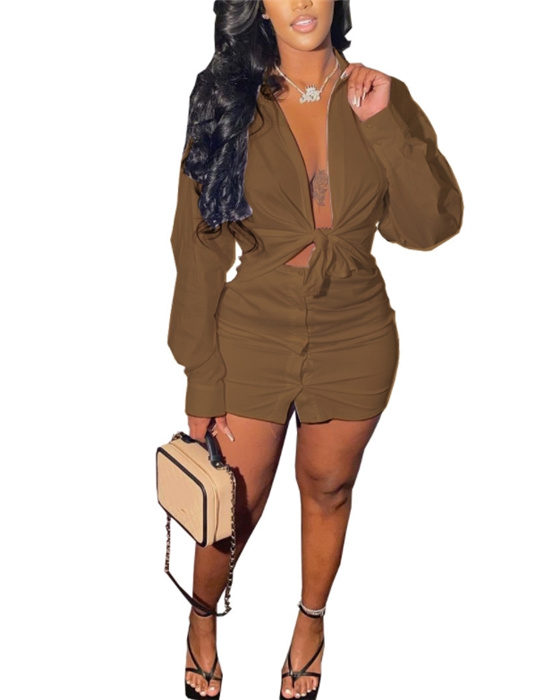 Women's Casual Outfit Set Solid Blouse Skirt Set
