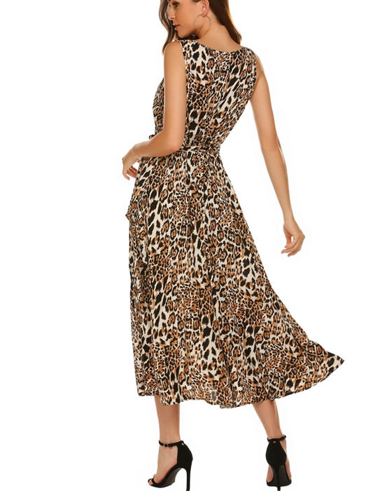 Women's Sexy V-neck Split Belted Leopard Print Dress