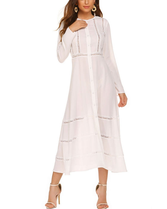 Women's Solid Single Breasted Lace Stitching Long Sleeve Dress