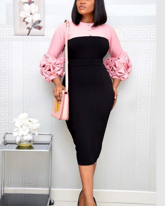 Women's Fashion OL Patchwork Puff Sleeve Plus Size Dress