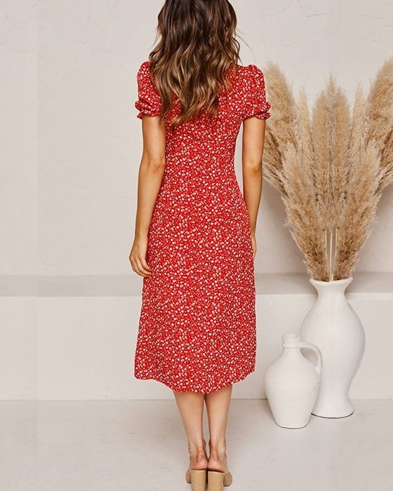 Women's Fashion Square Neck Split Puff Sleeve Floral Dress