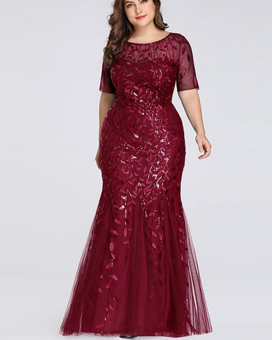 Women's Sequin Mesh Fishtail Dress Plus Size Bridesmaid Dress Evening Dress