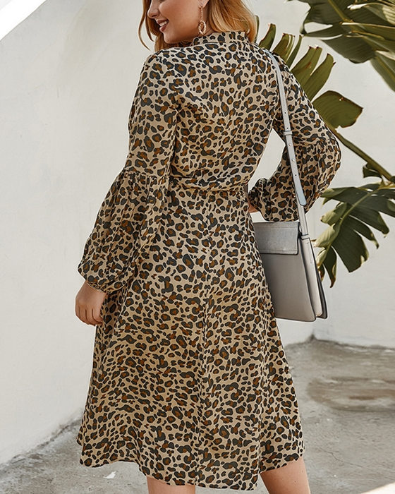 Women's Long Lantern Sleeve Leopard Print Plus Size Dress
