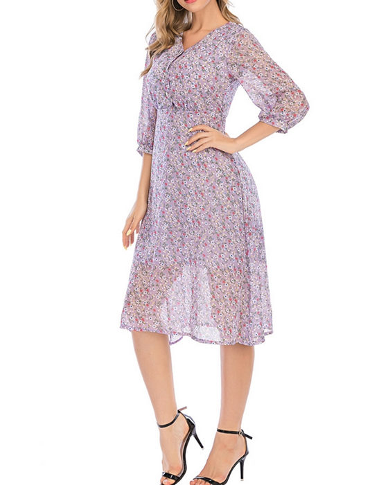 Women's Fashion V-neck Three-quarter Sleeve Floral Dress