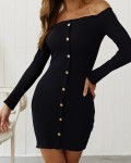 Women's Fashion Solid Off the Shoulder Ribbed Bodycon Dress