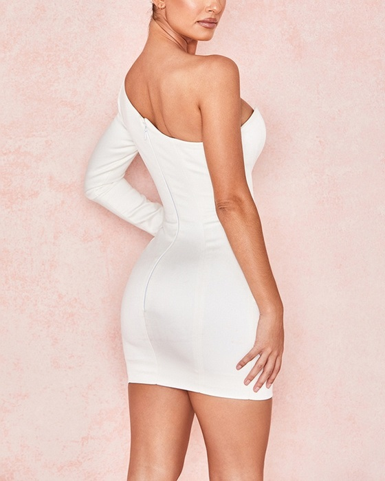 Women's Solid V-neck One Shoulder Long Sleeve Bodycon Dress
