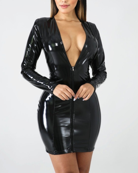 Women's Sexy Zipper Long Sleeve PU Leather Bodycon Dress