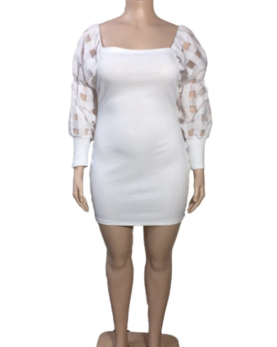 Women's Square Neck Solid Puff Sleeve Plus Size Dress