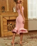 Women's Sexy Solid Deep V Neck Ruffle Cocktail Dress