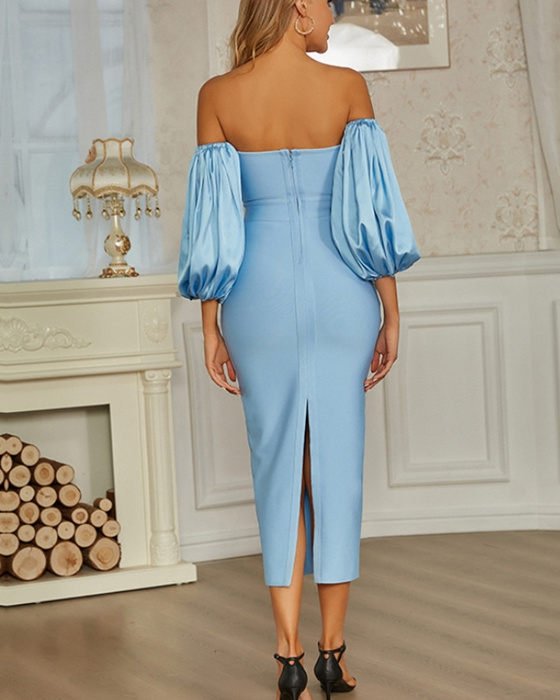 Women's Solid Off The Shoulder Puff Sleeve Evening Dress