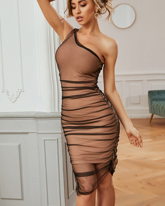 Women's One Shoulder Bodycon Dress Solid Mesh Party Dress