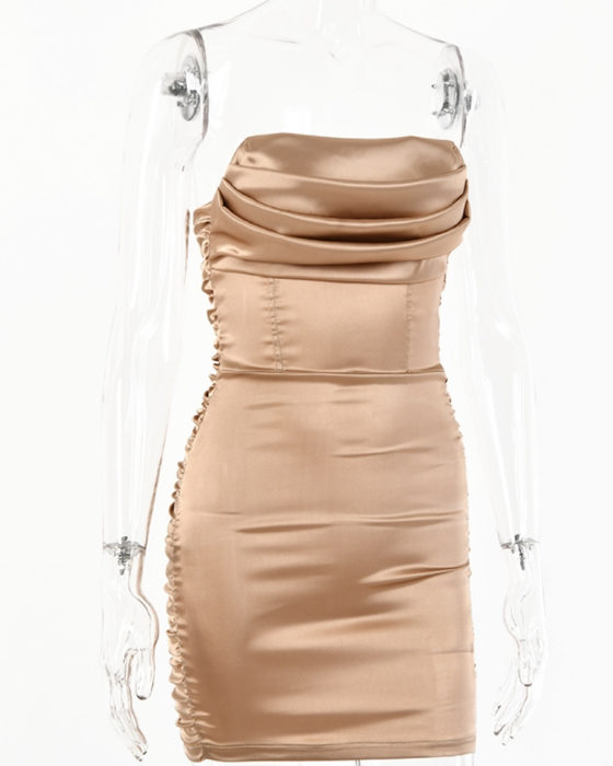 Women's Sexy High Elastic Satin Ruched Bodycon Dress