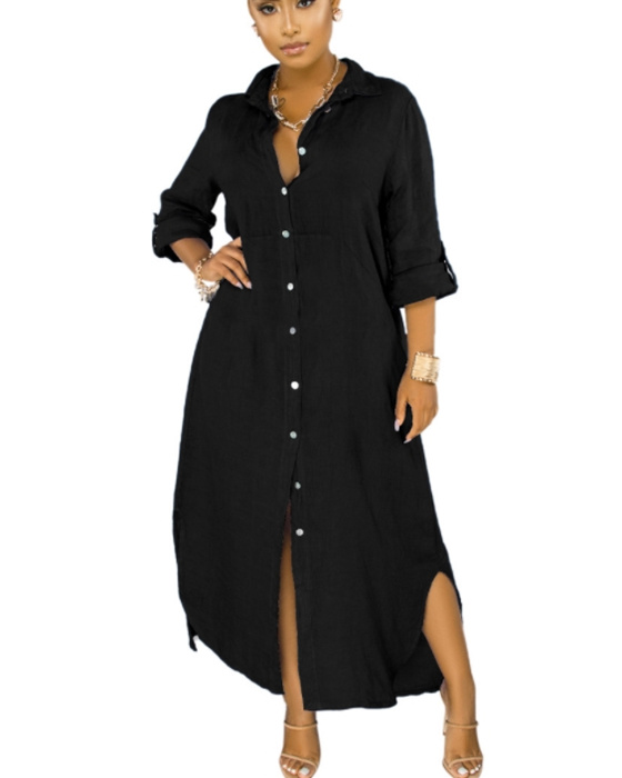 Women's Fashion Loose Single-breasted Solid Shirt Dress
