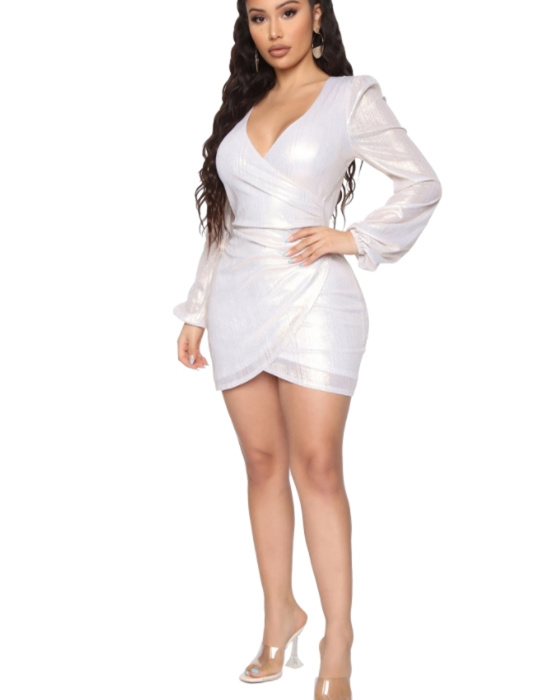 Women's Sexy V-neck Solid Long Sleeve Ruched Dress