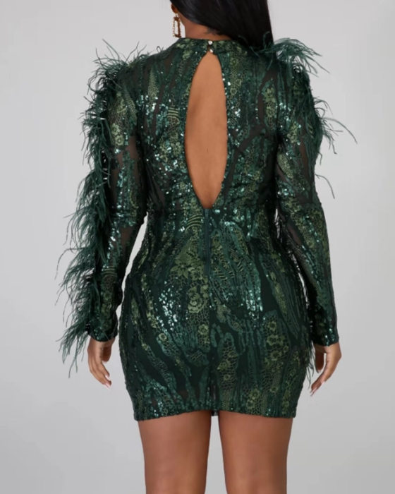 Women's Bare Back Long Sleeve Feather Sequin Bodycon Dress