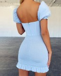 Women's Solid Backless Short Sleeve Bodycon Dress