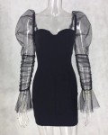 Women's Solid See Through Mesh Sleeve Bodycon Dress