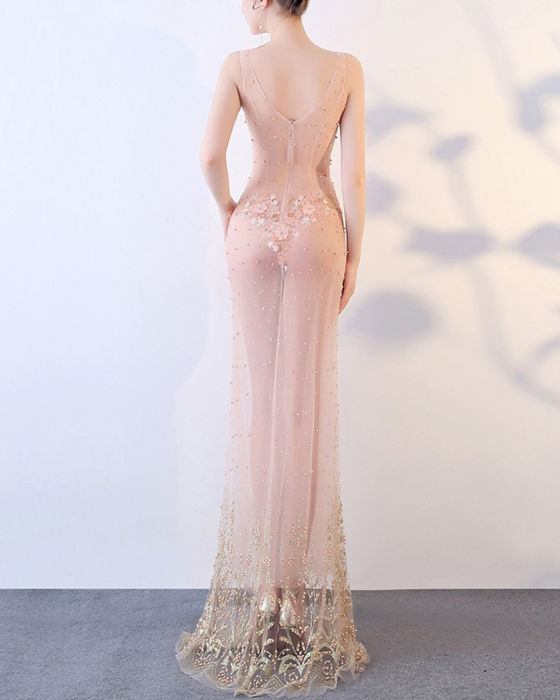 Women's Sexy V-neck See Through Lace Evening Dress