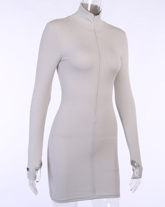 Women's Solid Long Sleeve High Neck Bodycon Dress