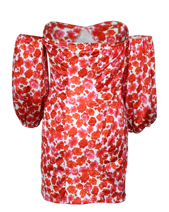 Women's Sexy Floral Off the Shoulder Bodycon Dress