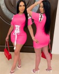 Women's Short Sleeve Solid Lace Up Bodycon Dress