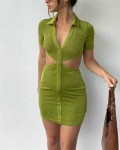 Women's Fashion Single Breasted Cut Out Bodycon Dress