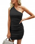 Women's Fashion One Shoulder Ruched Bodycon Dress