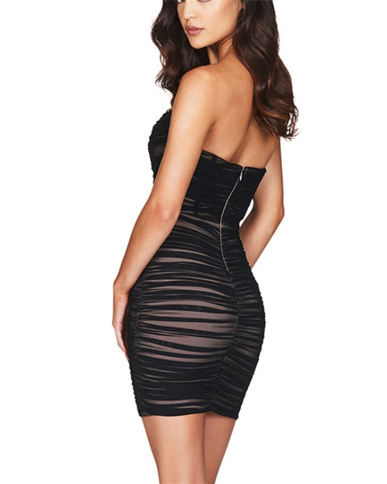 Women's Fashion Solid Ruched Bandeau Dress