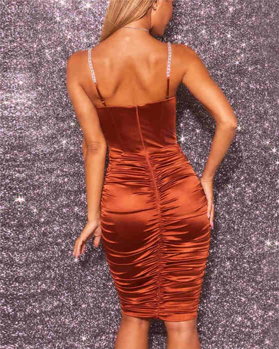 Women's Fashion Solid Ruched Evening Dress
