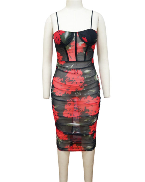 Women's See Through Ruched Floral Dress