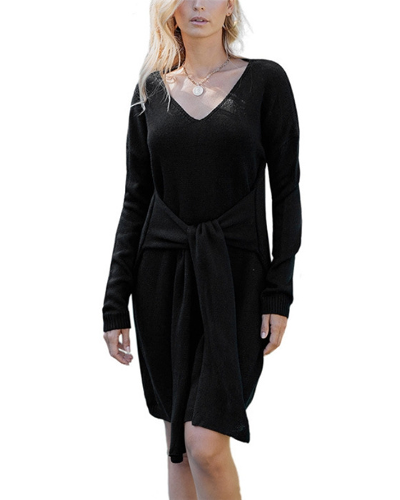 Women's Solid V-neck Knot Front Sweater Dress