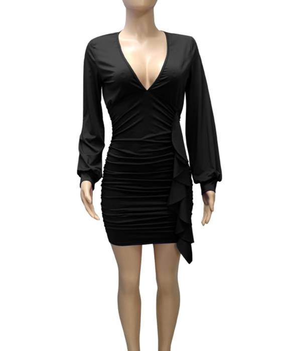 Women's Ruffle Plunging Ruched Bodycon Dress