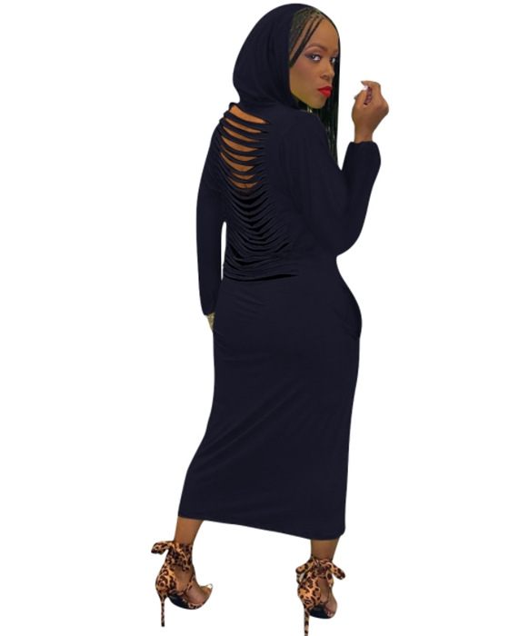 Women's Solid Hollow Out Hooded Long Sleeve Dress