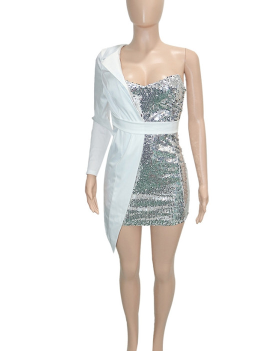 Women's Casual One Shoulder Sequined Party Dress