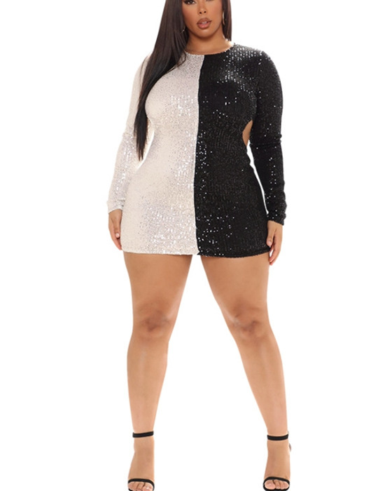 Women's Long Sleeve Cut Out Sequined Plus Size Dress