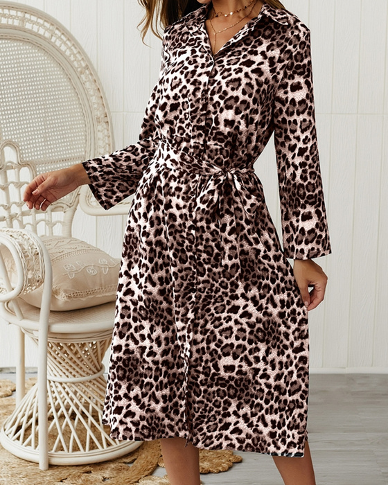 Women's Casual Long Sleeve Belted Leopard Print Dress