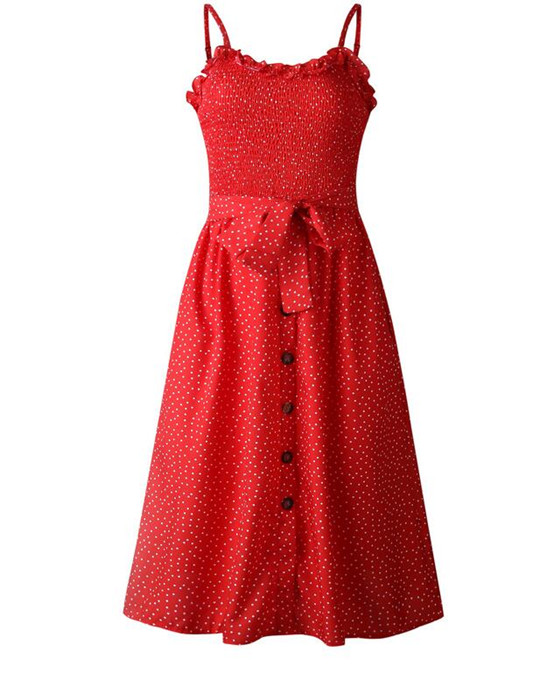 Women's Polka Dot Single Breasted Long Dress With Belted