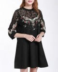 Women's Round Neck Lace Stitching A-Line Dress