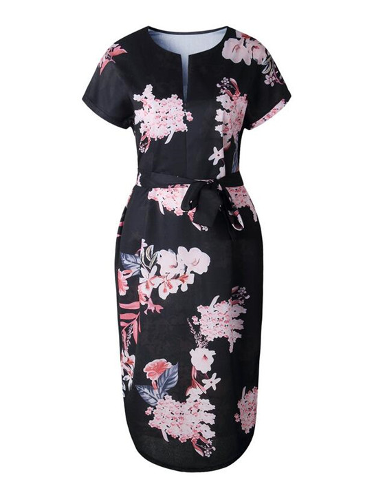 Women's Sexy V-Neck Short Sleeve Floral Dress With Belted