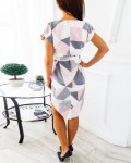 Women's Sexy V-Neck Geometric Short Sleeve Dress With Belted